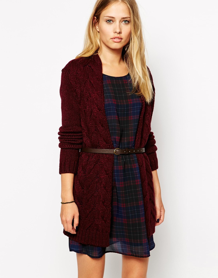 Pepe Jeans Cable Knit Cardigan With Belt | Mad About Burgundy Fall 2014