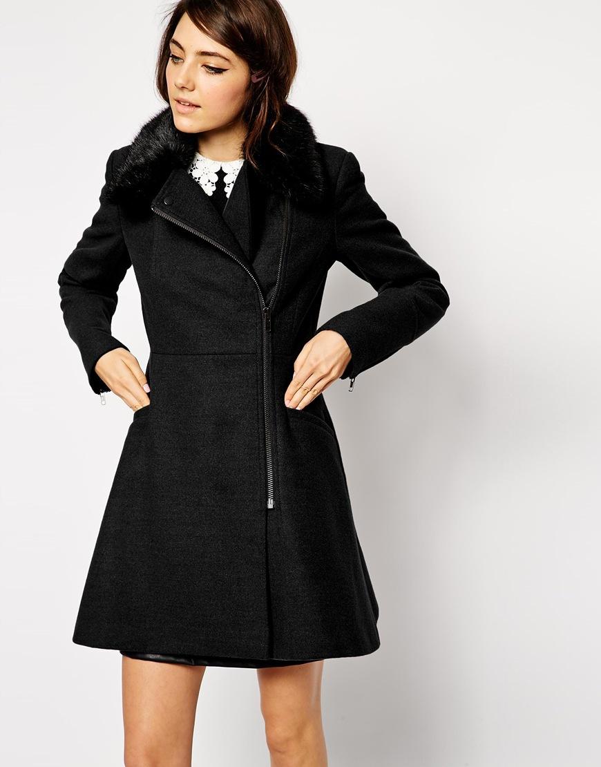 ASOS Skater Biker Coat With Detachable Faux Fur Collar | Fall Coats for 2014