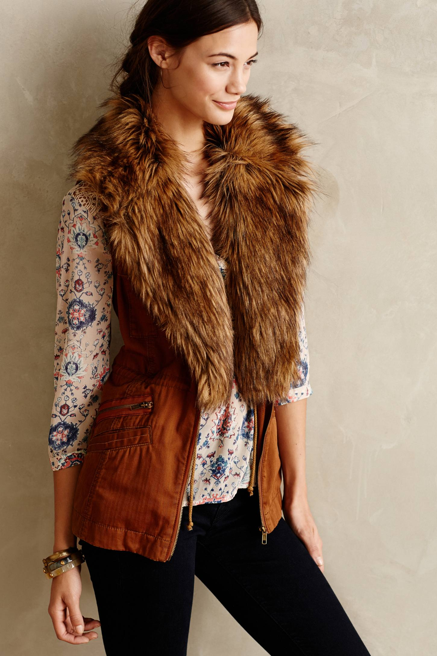 Anthropologie Faux-Fur Shawl Vest | How to Wear Dresses in Fall