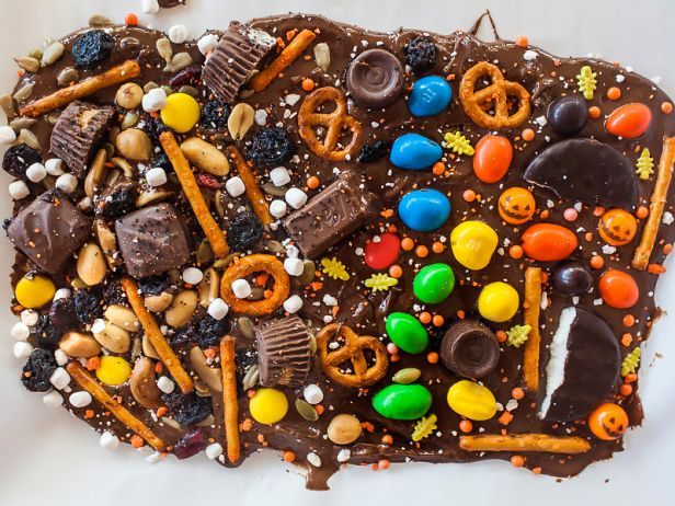 Spooky Chocolate Bark - 5 Treats to Make with Halloween Candy | Food Network | 31 Things for Halloween