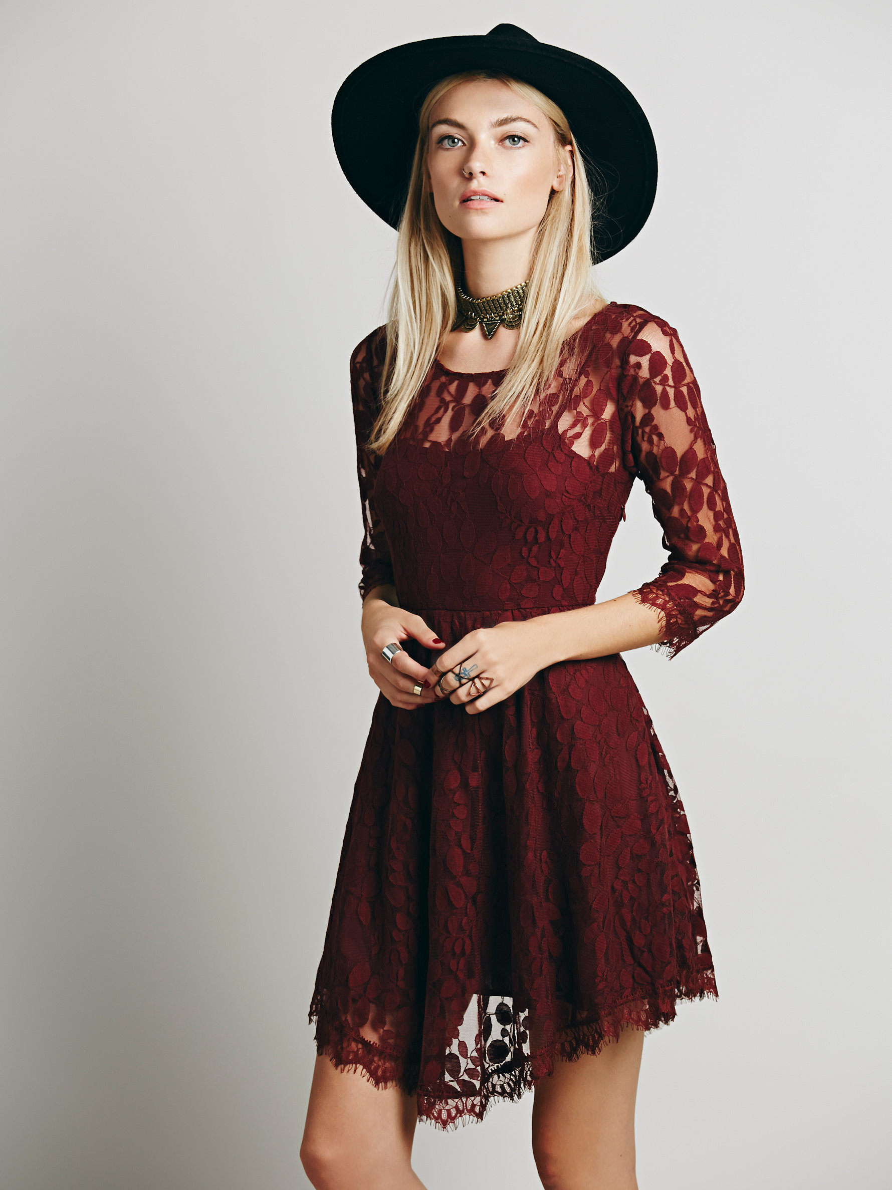 Free People Floral Mesh Lace Dress in Scarlet | How to Wear Dresses in Fall