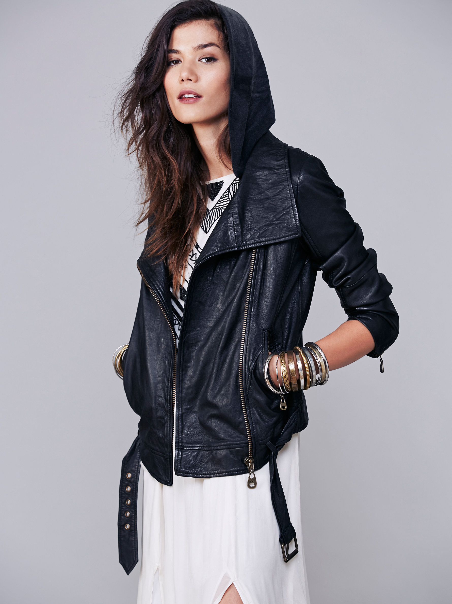 Free People Hooded Biker Leather Jacket | How to Wear Dresses in Fall