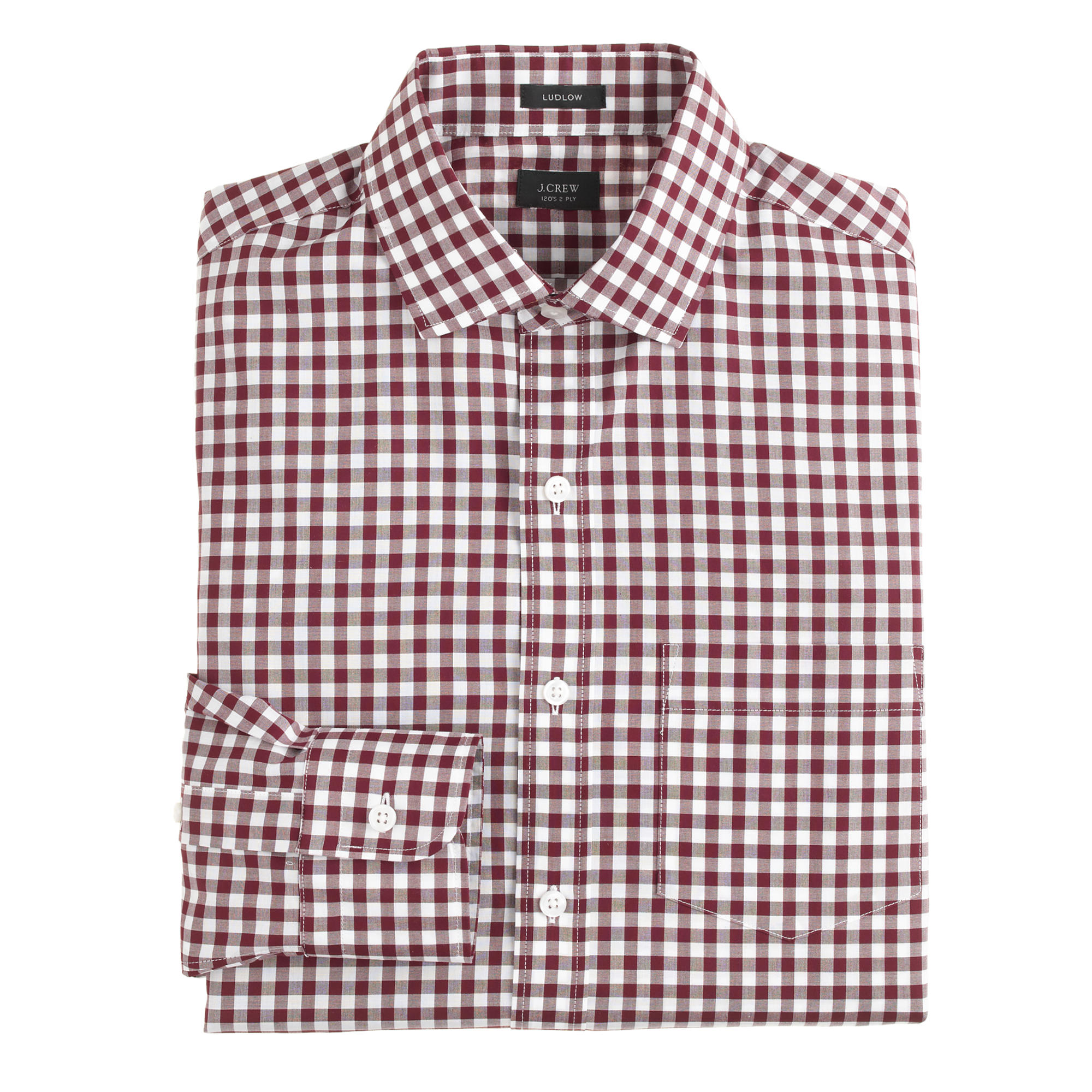 J.Crew Ludlow Spread-Collar Shirt in Burgundy Gingham | 10 Fall Wardrobe Essentials for Men