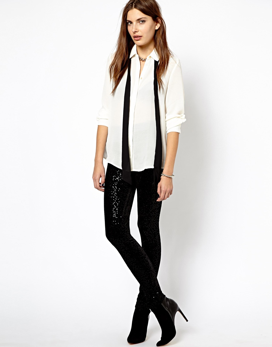 Mango Velvet Sequin Legging - Sequin Pants