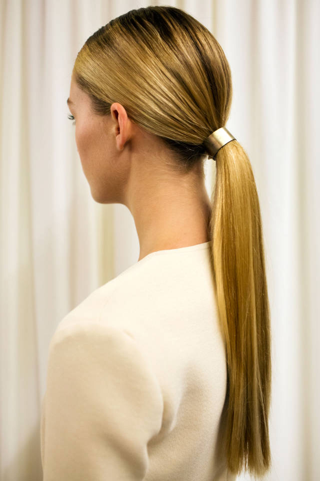 Sleek Ponytail with Hardware for Wes Gordon: The Best Beauty Looks from New York: Spring 2015 | Harper's Bazaar | 6 Easy Hairstyles to Try This Fall
