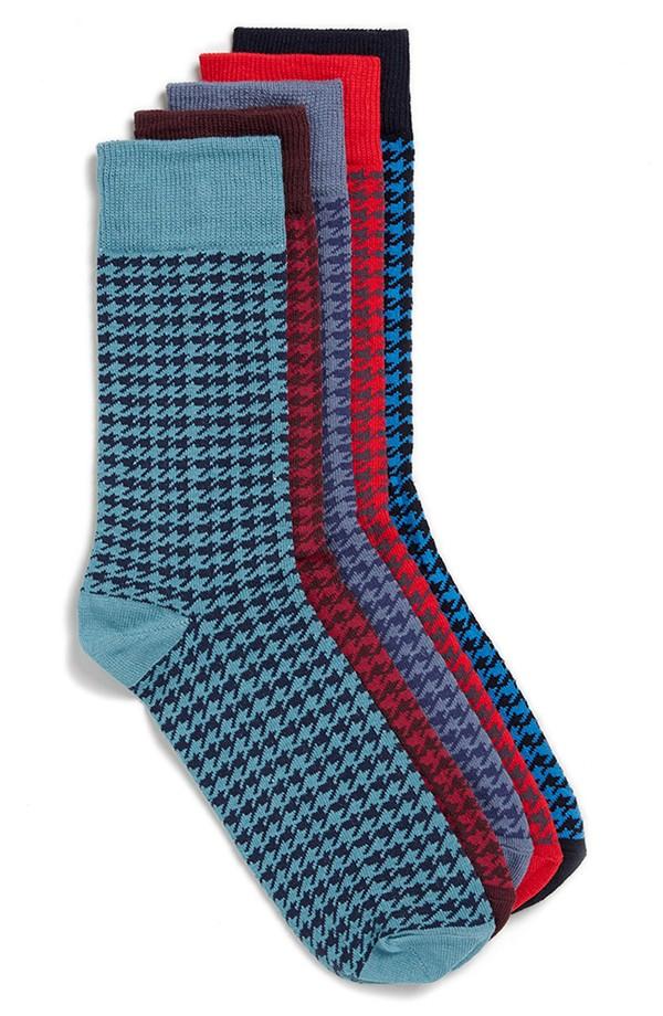 Topman Bright Houndstooth Pattern Socks (5-Pack)   10 Fall Wardrobe Essentials for Men