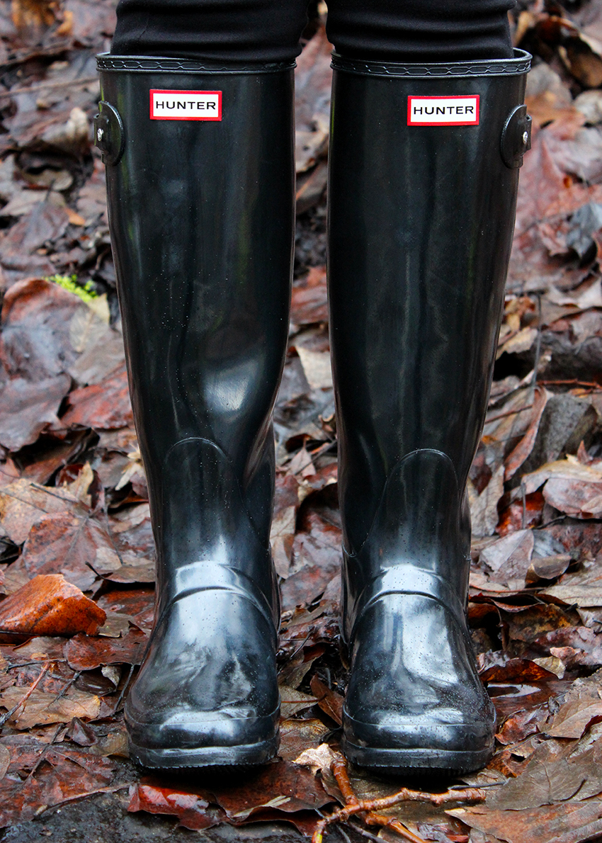Hunter boots winter outfit