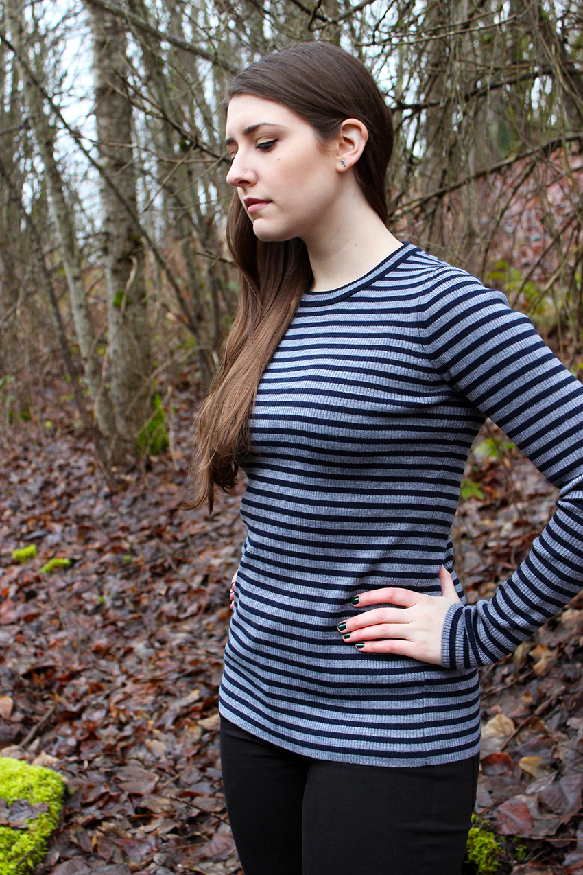 J.Crew Striped Sweater, black skinny jeans   Hunter boots winter outfit