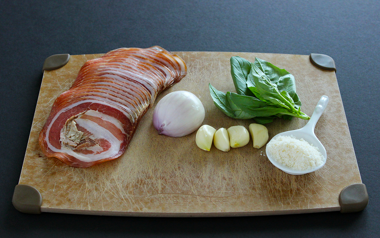 Pancetta, shallot, garlic, basil, parmigiano reggiano | Tomato Sauce with Pancetta and Shallot recipe | Style and Cheek