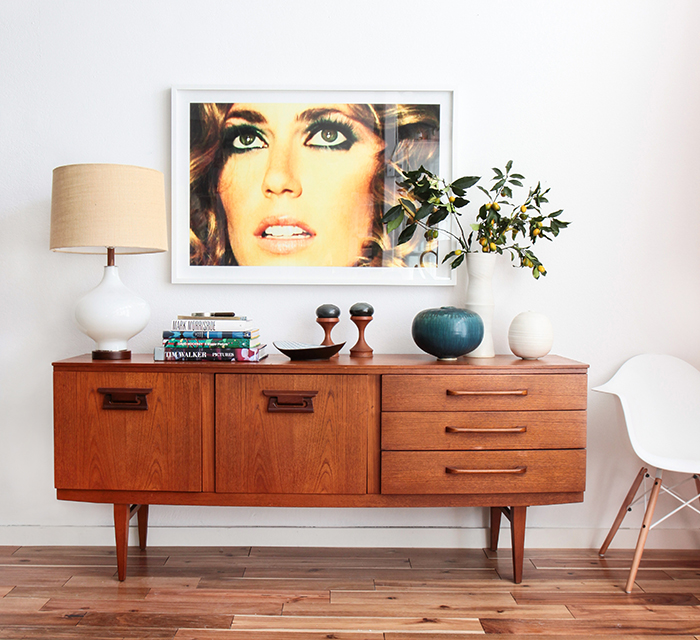 1 Credenza 4 Ways: Bold Mid-Century Contemporary photo by Tessa Neustadt | Style by Emily Henderson blog
