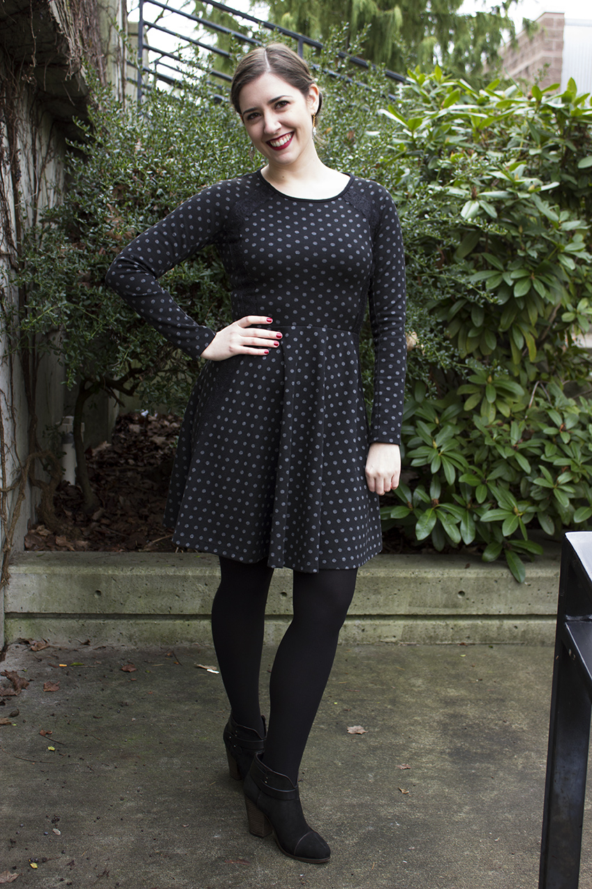 Anthropologie polka dot dress and rag and bone booties   Valentine's Day Little Black Dress
