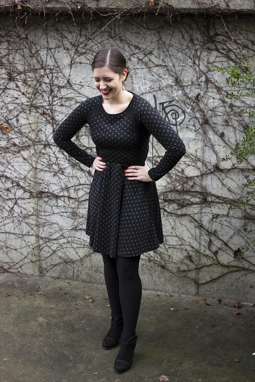 Anthropologie black polka dot lace framed dress and rag and bone harrow booties in nubuck   Valentine's Day Little Black Dress