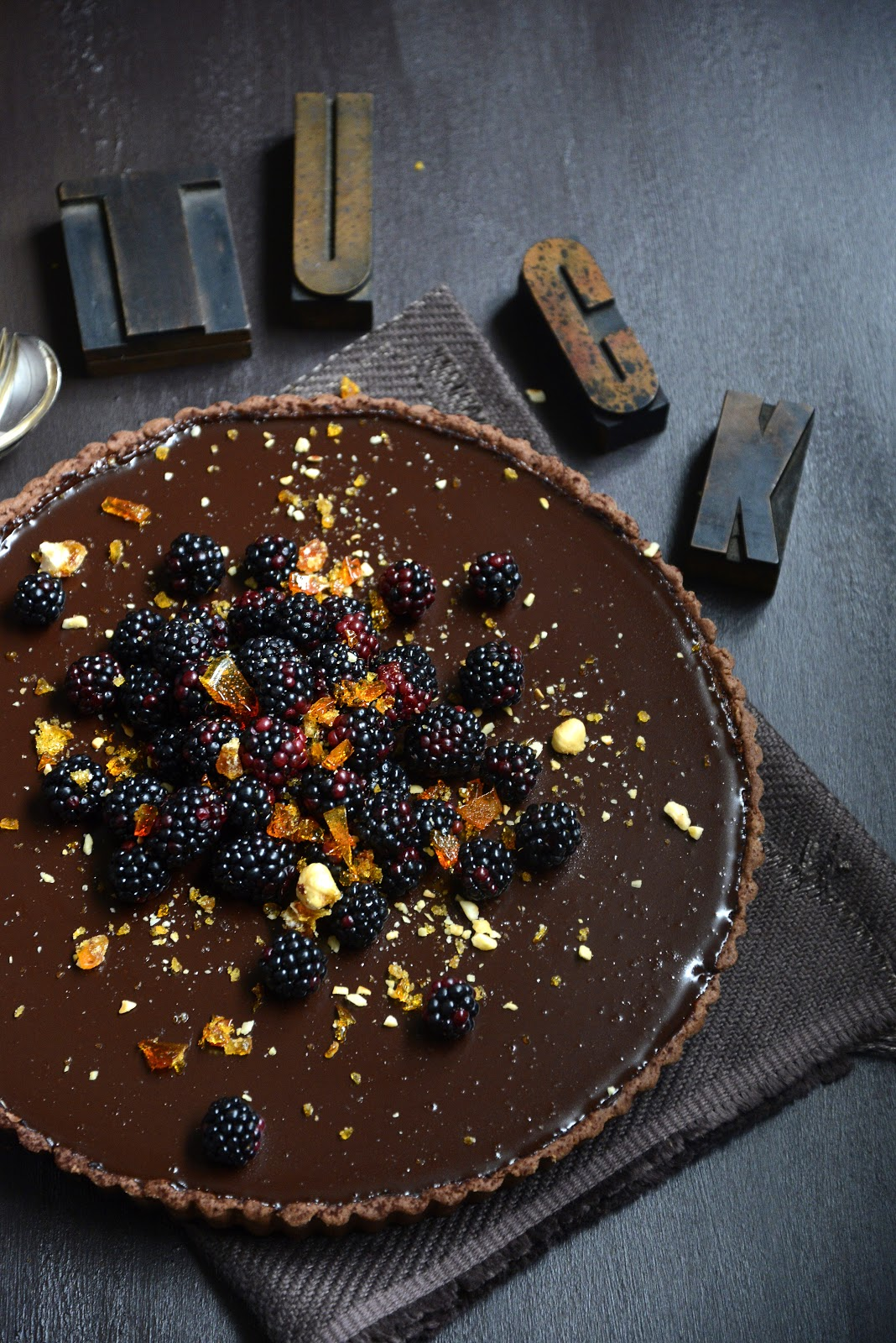 Dark Chocolate Tart with Blackberries and Hazelnut Praline | From The Kitchen | Six Sinful Chocolate Desserts