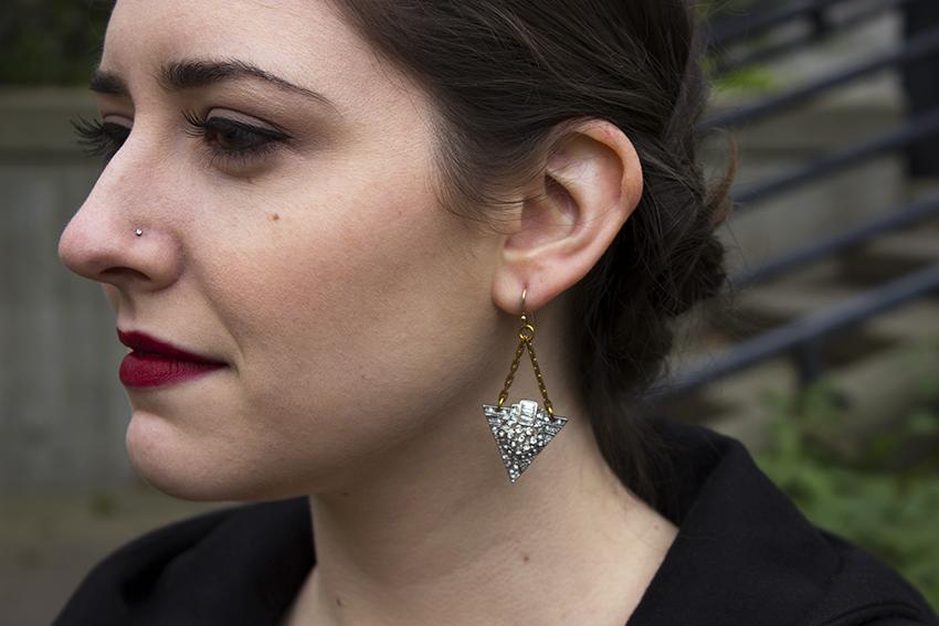 Red lipstick, Lulu Frost Beach Break Earrings close up   Valentine's Day Little Black Dress