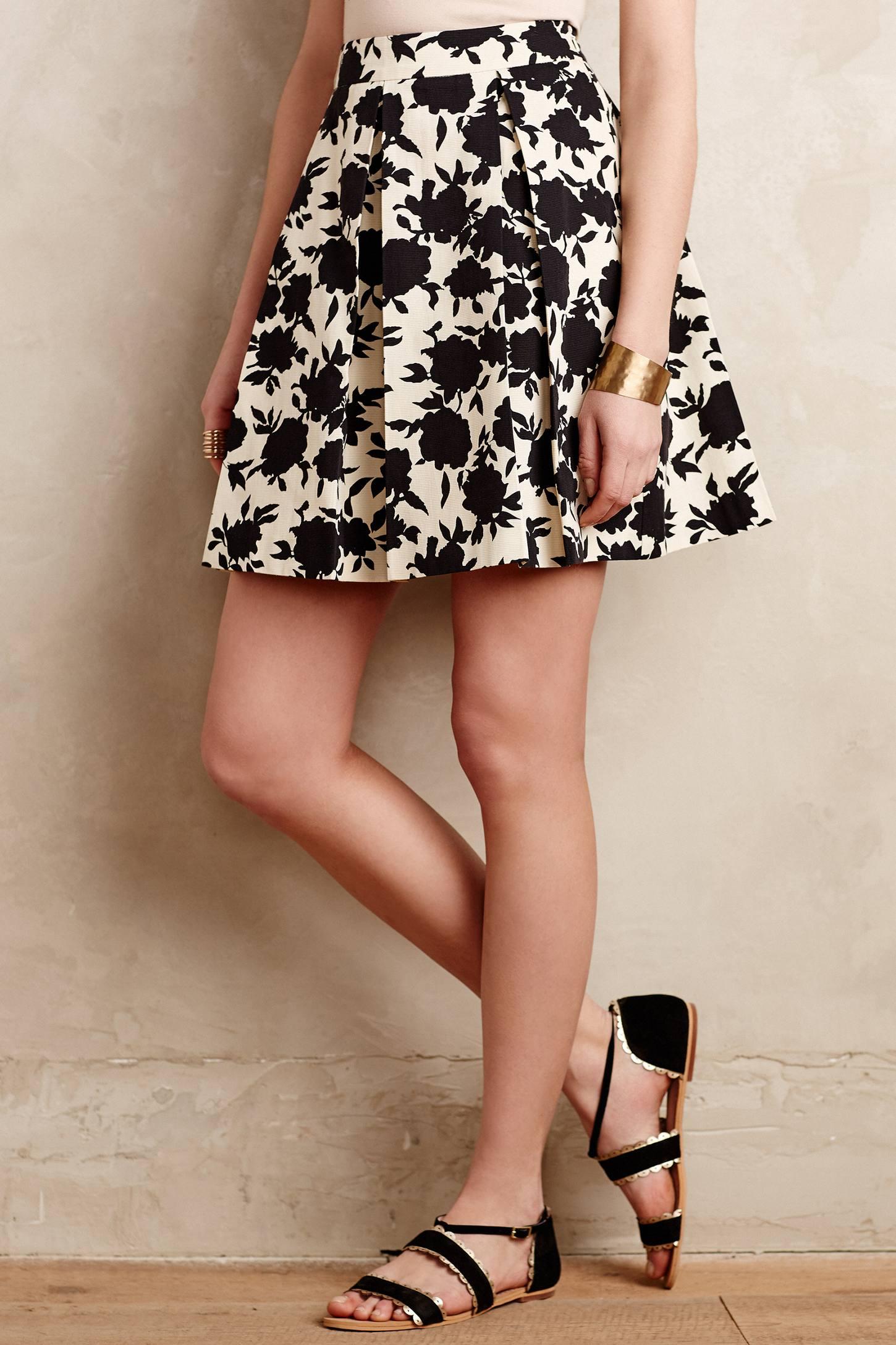 Anthropologie Rosebud Silhouette Skirt | Printed Flared Skirts