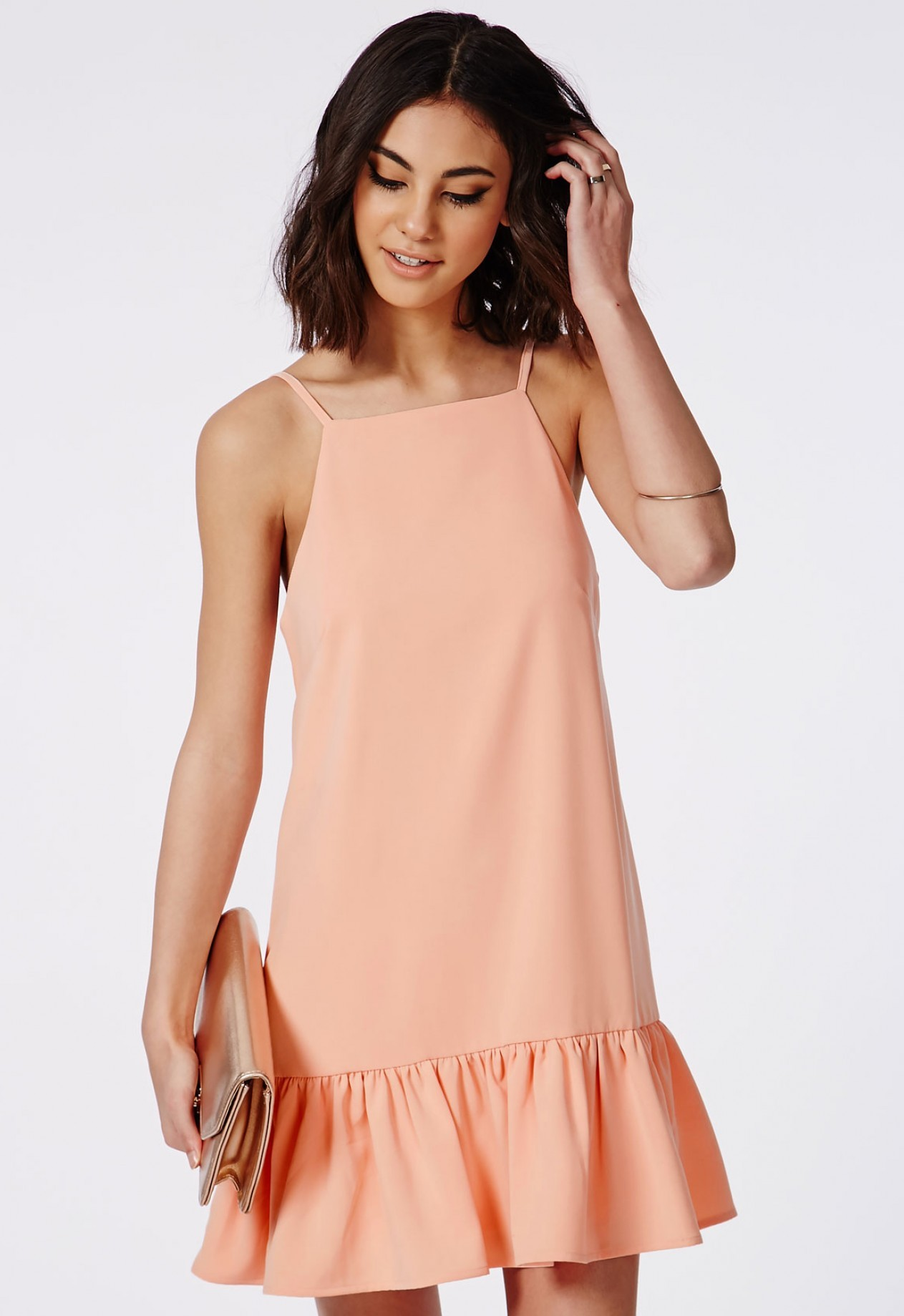 Missguided Drop Hem Shift Dress | Missguided Hello Good Vibes