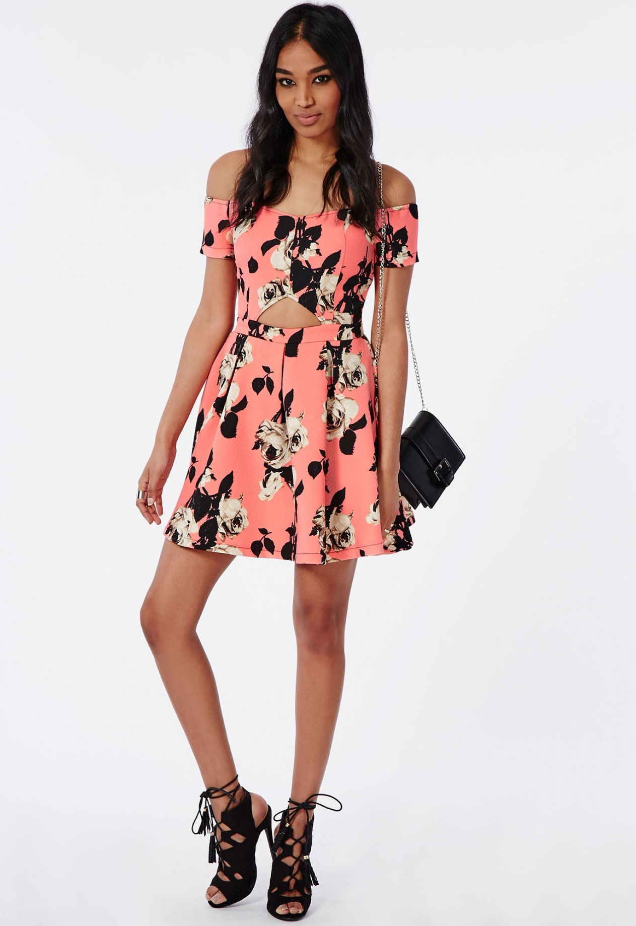 Missguided Floral Cut out Sweetheart Skater Dress in Pink | Missguided Hello Good Vibes