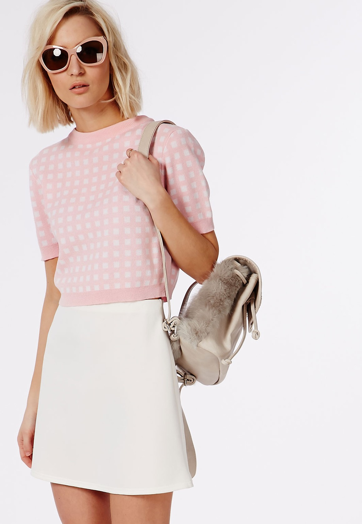 Missguided Short Sleeve Gingham Crop Jumper Pale Pink | Missguided Hello Good Vibes