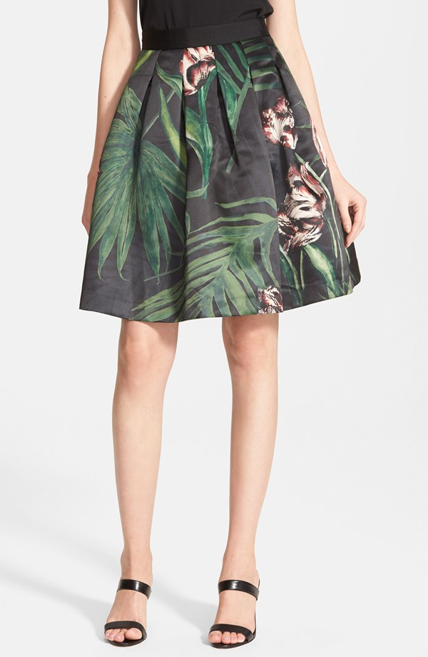 Ted Baker London 'Palm Flora' A-Line Skirt | Printed Flared Skirts