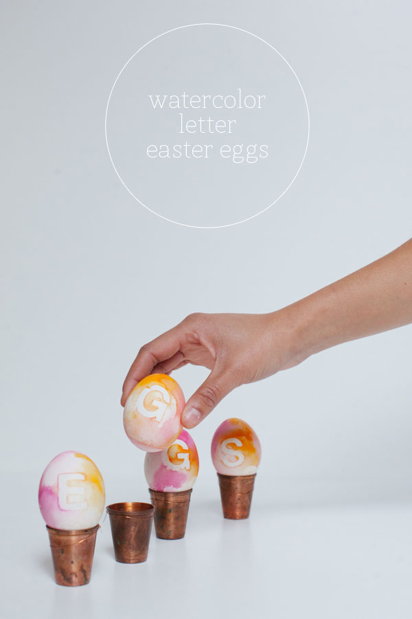 Watercolor Letter Easter Eggs | Oh Happy Day | DIY Easter Egg Ideas