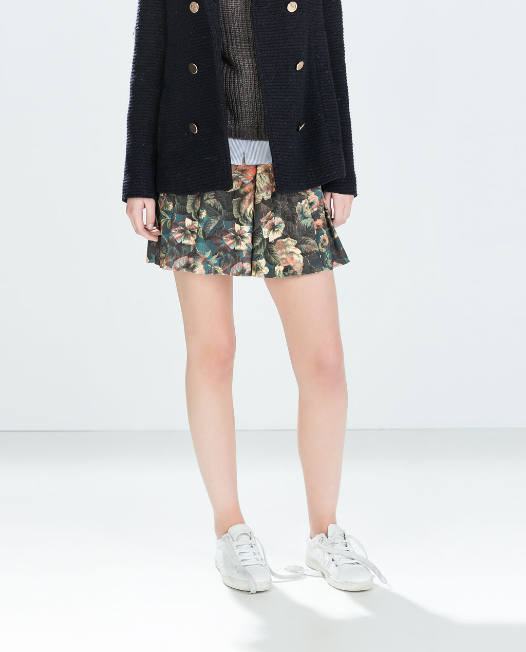 Zara Mini Skirt with Flounce | Printed Flared Skirts