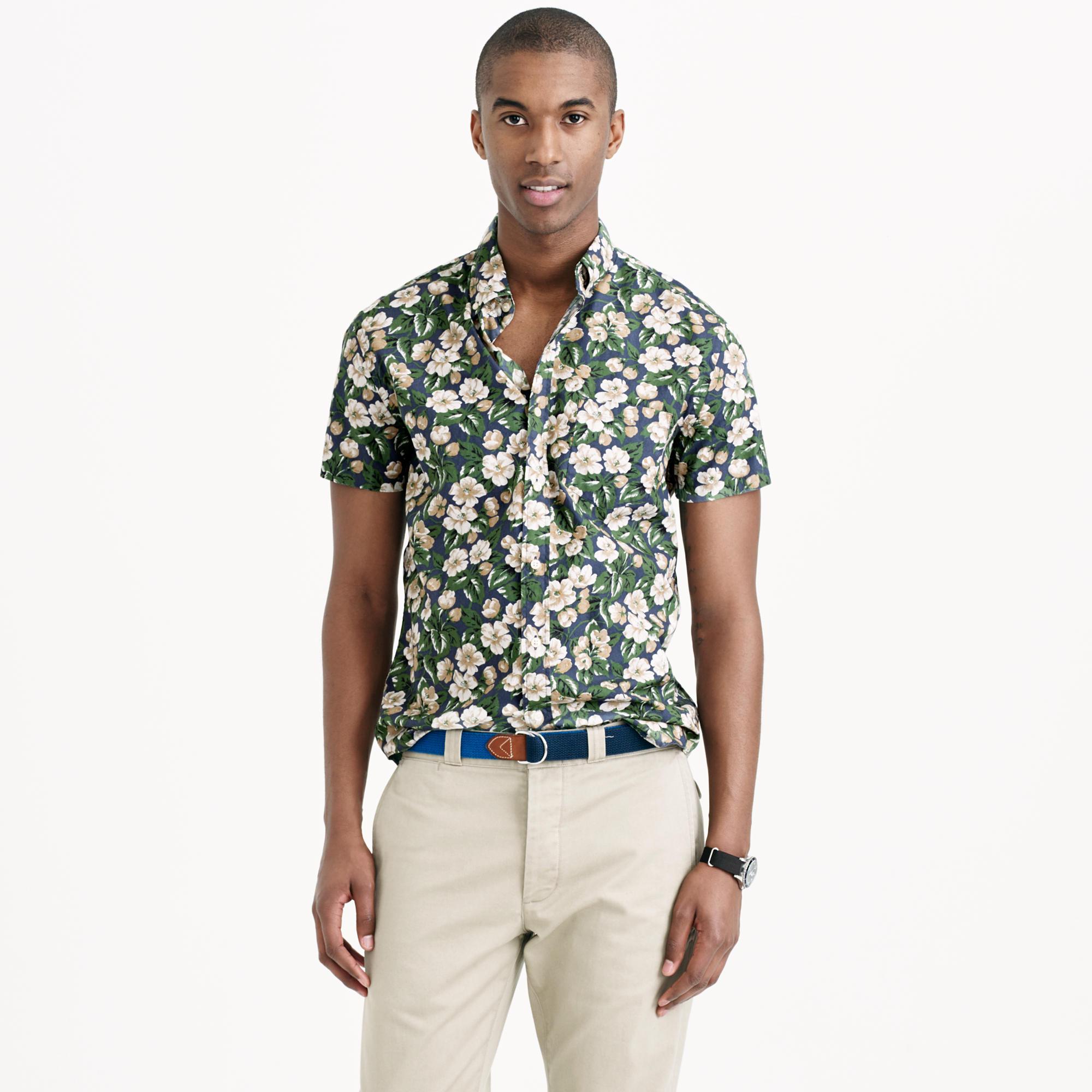 J.Crew Secret Wash Short-Sleeve Shirt in Faded Indigo Floral   Men's Prints