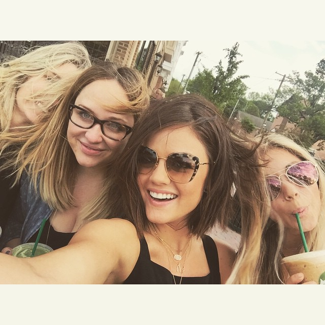 Lucy Hale with friends on Instagram | Lucy Hale bob haircut