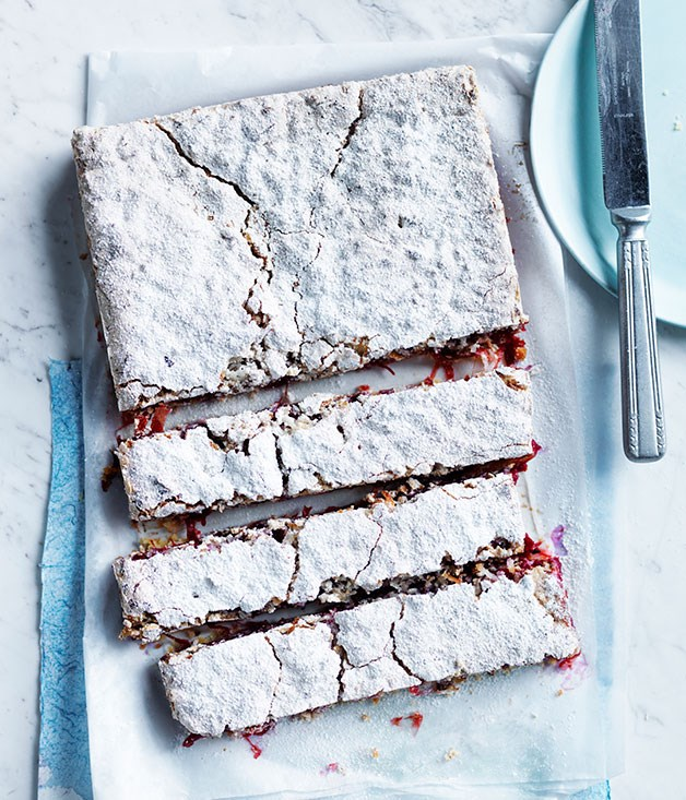 Rhubarb, Lime and Coconut Slice | Gourmet Traveller | Summer Ready Rhubarb Recipes