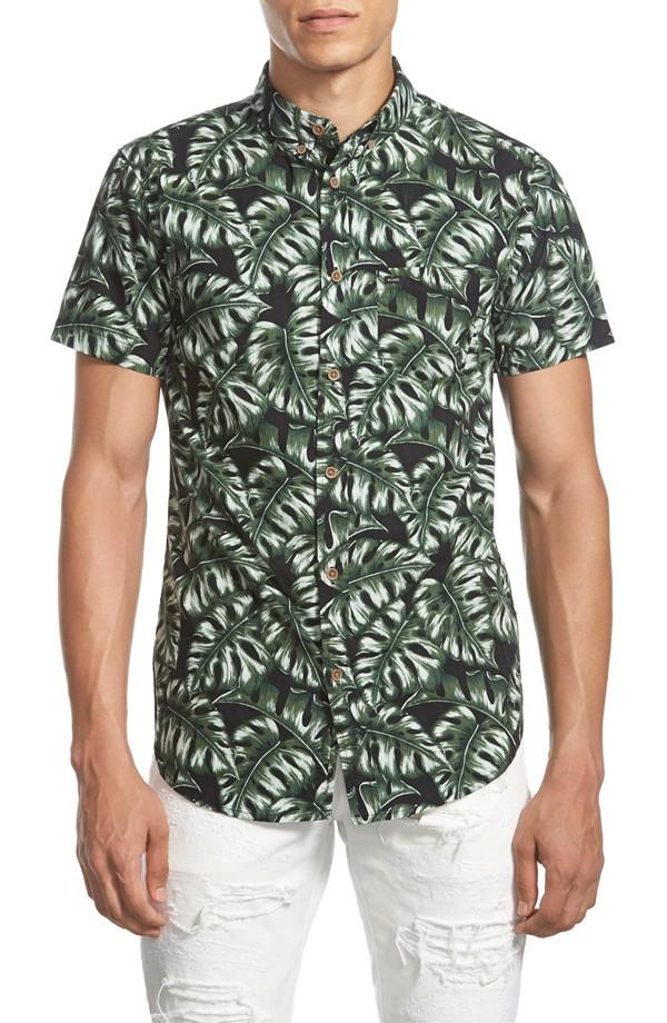GLOBE 'Monstera' Trim Fit Short Sleeve Print Poplin Shirt | Men's Short Sleeve Shirts
