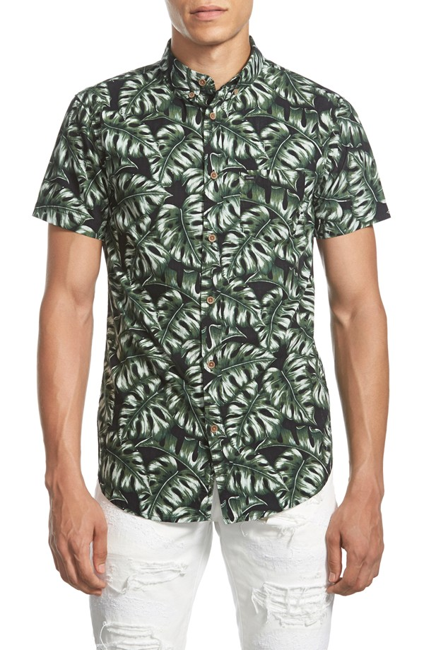 GLOBE 'Monstera' Trim Fit Short Sleeve Print Poplin Shirt | Men's Short Sleeve Shirts