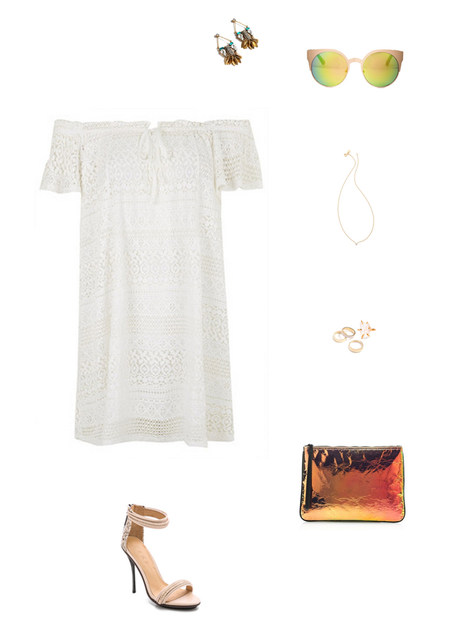 How She'd Wear It with Style and Cheek - White Off the Shoulder Dresses