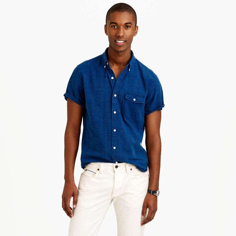 J.Crew Secret Wash Short-Sleeve Shirt in Indigo | Men's Short Sleeve Shirts