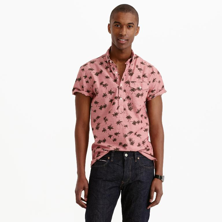 J.Crew Short-Sleeve Chambray Popover Shirt in Palm Tree Print | Men's Short Sleeve Shirts