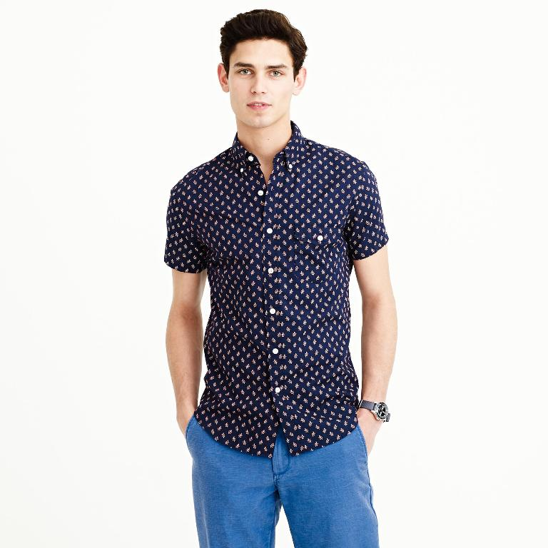 J.Crew Short-Sleeve Shirt in Authentic Navy Floral | Men's Short Sleeve Shirts