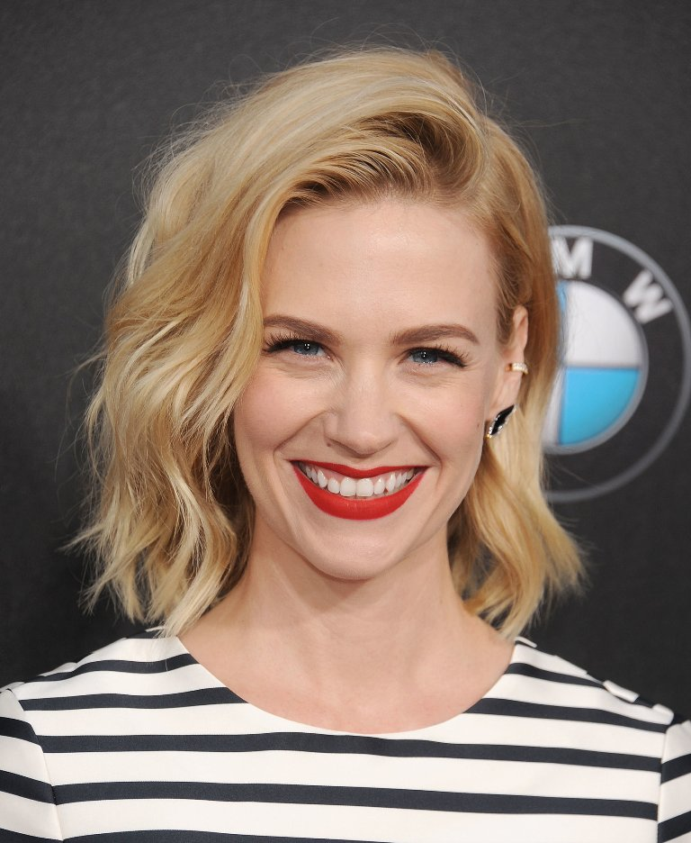 January Jones Side Swept Waves | Popsugar | The It Girl Side Flip Hairstyle