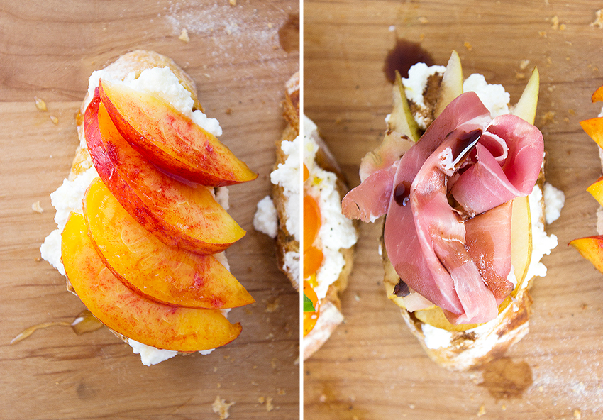 Nectarine Honey Ricotta Crostini + Proscuitto Pear Ricotta Crostini | Summertime Ricotta Crostini on Style and Cheek