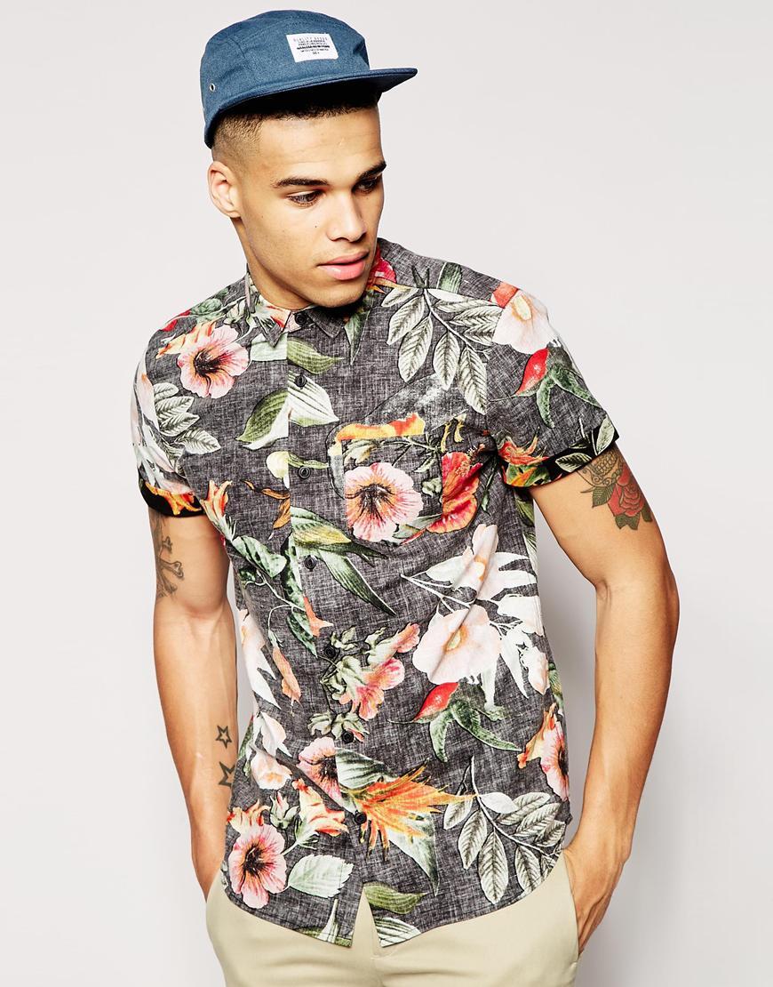 New Look Short Sleeve Shirt in Reverse Bright Floral | Men's Short Sleeve Shirts
