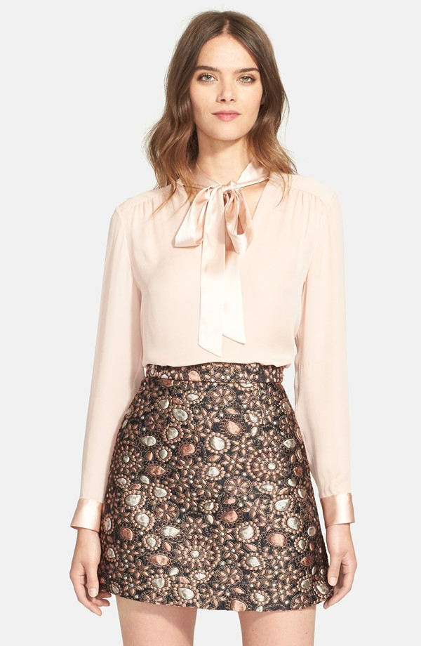 Alice + Olivia 'Irma' Tie Neck Silk Blouse | Alice Olivia Fall 2015 Collection