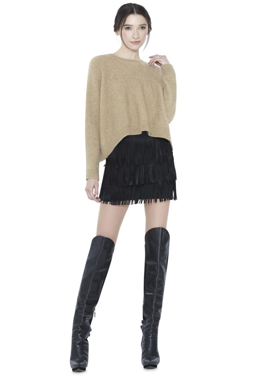 Alice + Olivia Lavana Tiered Fringe Suede Mini Skirt   Alice Olivia Fall 2015 Collection
