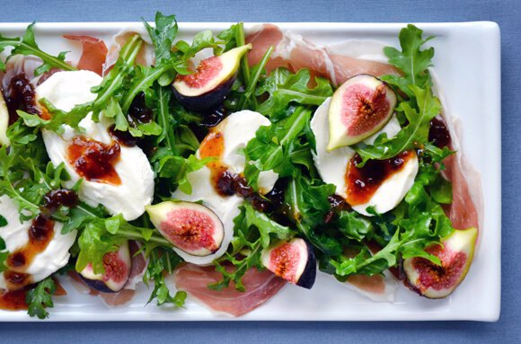 Fig, Prosciutto and Burrata Cheese Salad | Just a Taste | Summer Salads