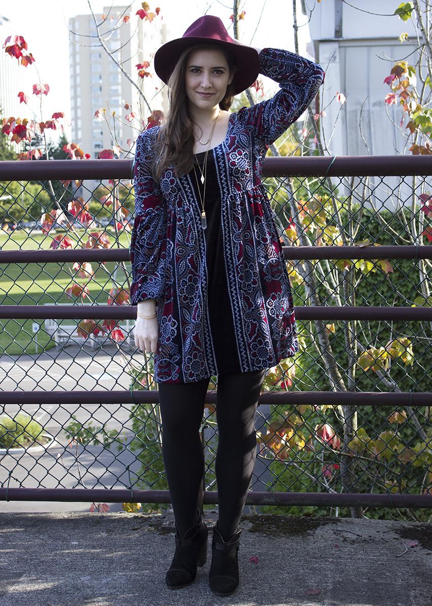 Free People velvet dress Moorea Seal Morley Hat Rag and Bone boots boho outfit