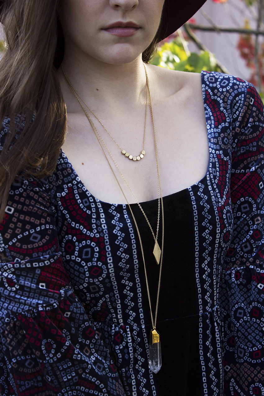 Free People velvet dress and Moorea Seal noble layer necklace boho outfit