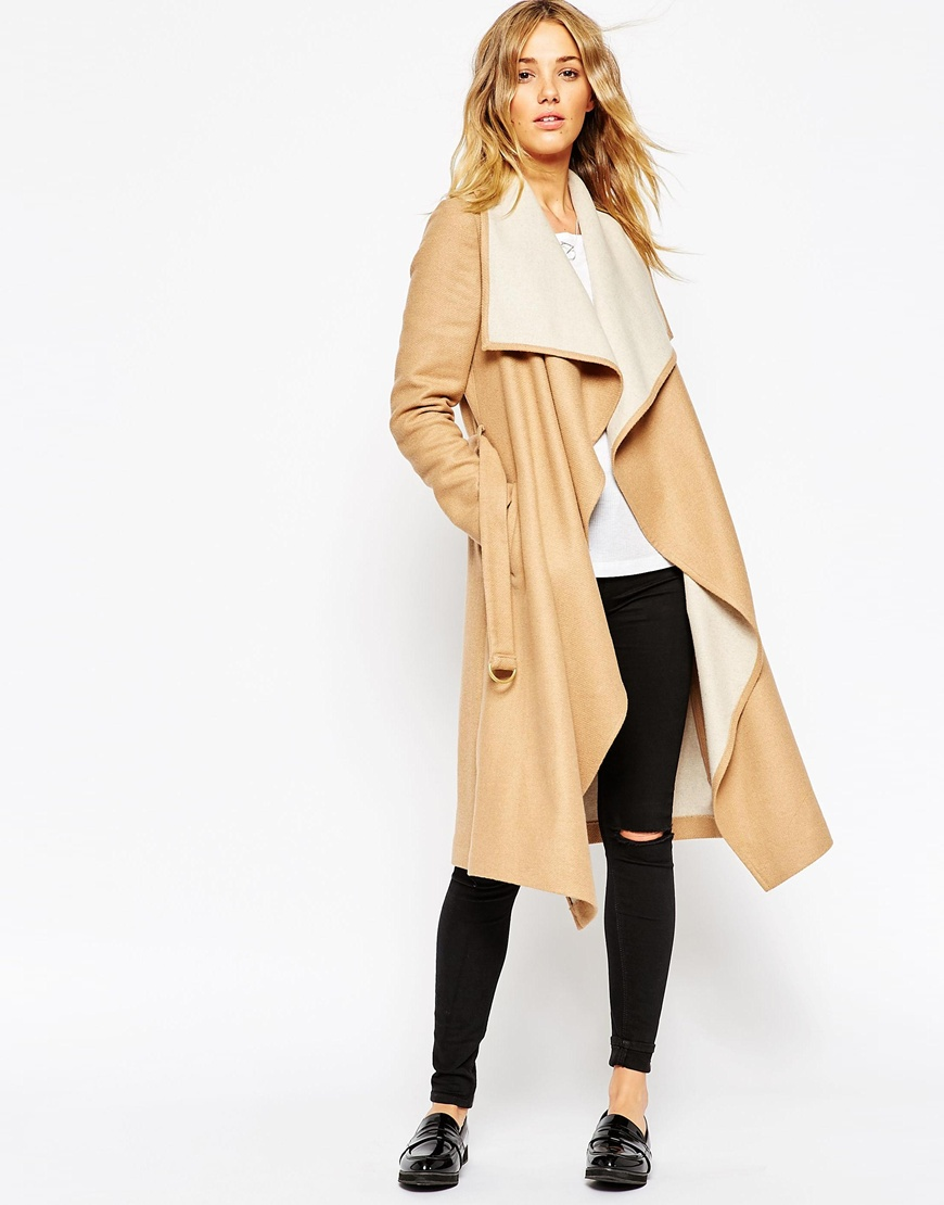 ASOS Coat With Waterfall Front and Belt | Camel Coats