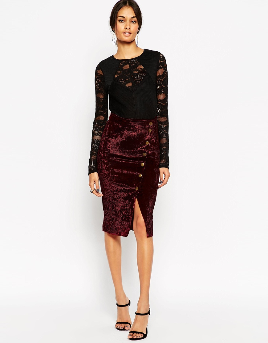 ASOS Wrap Skirt in Velvet With Asymmetric Buttons | Bewitching Bohemian Fall Style