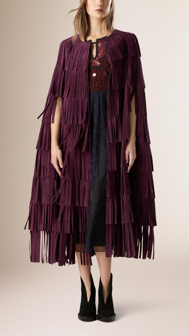 Burberry Suede Fringe Cape | Burberry Coats Fall 2015