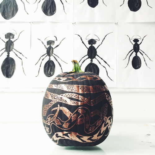 DIY Project: Copper Snakes Pumpkin by Liz Libre | Design Sponge | DIY Pumpkin Decorations