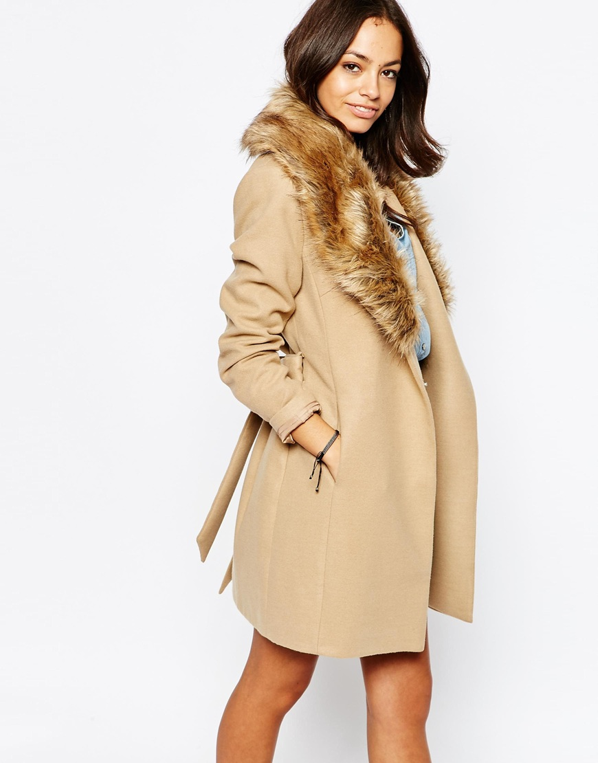 New Look Faux Fur Collar Belted Coat | Camel Coats