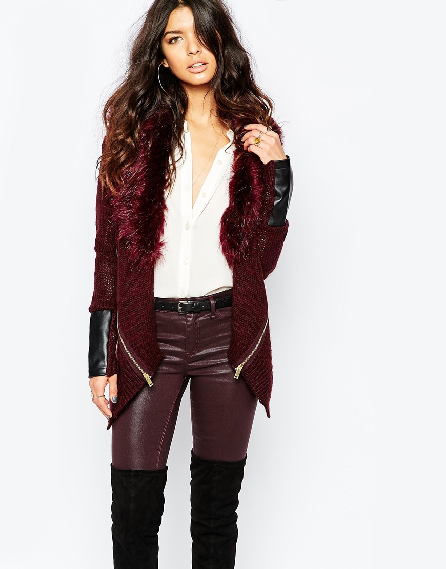River Island Cardigan With Faux Fur Collar | Bewitching Bohemian Fall Style