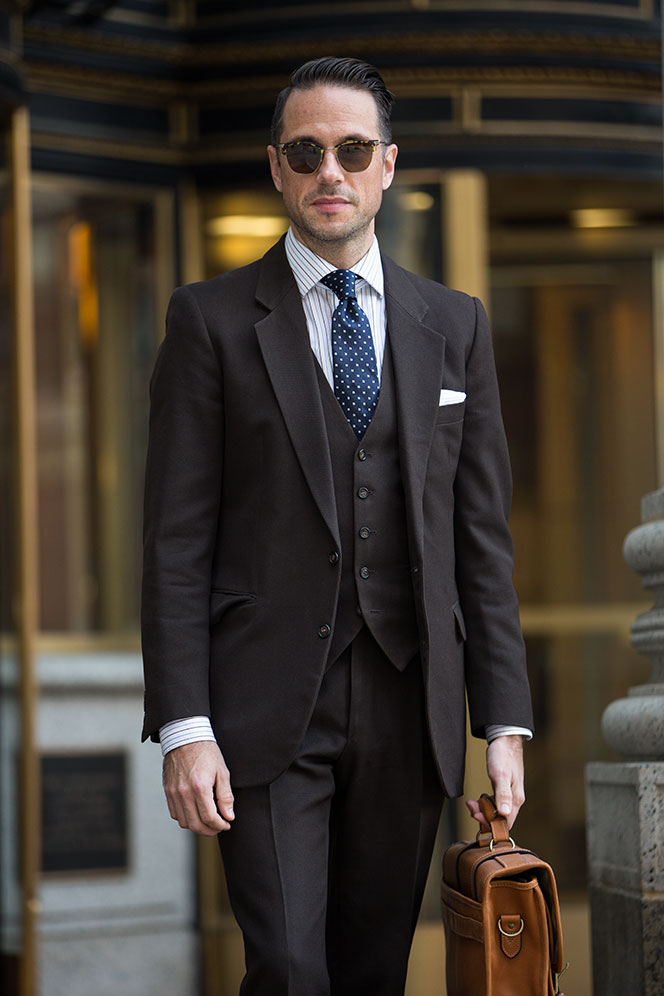 Fall Business: Brown Three-Piece Suit | He Spoke Style | Fall Menswear Style Inspiration