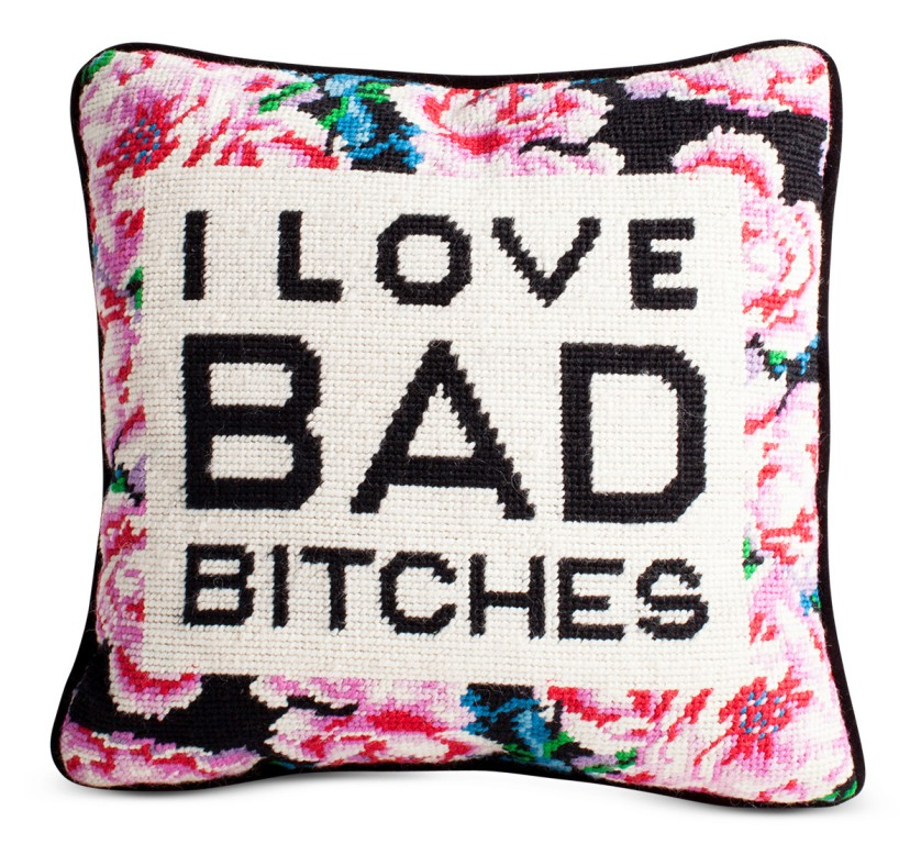 Furbish Studio Bad Bitches Needlepoint Pillow | Cheeky Home Accessories